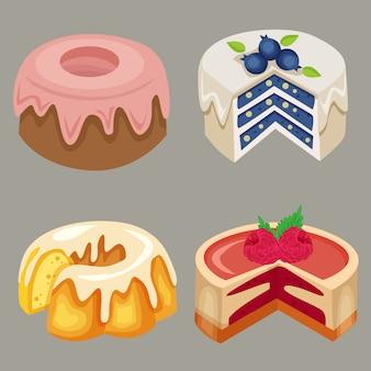 Vetor de estoque delicioso bolo mistura frutas sabor elemento conjunto coleção