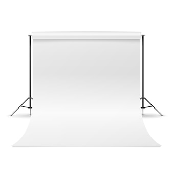 Vetor de estúdio de fotografia. limpe a lona branca isolada. ilustração realista.