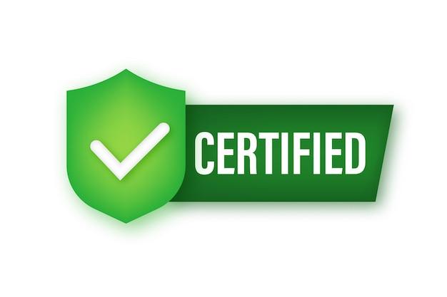 Vetor de etiqueta certificada isolado no fundo branco. ilustração de estoque vetorial