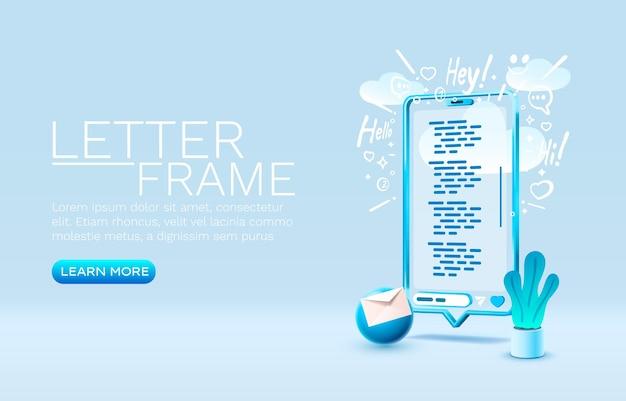 Vetor de exibição móvel de tecnologia de tela móvel de smartphone carta mensagem