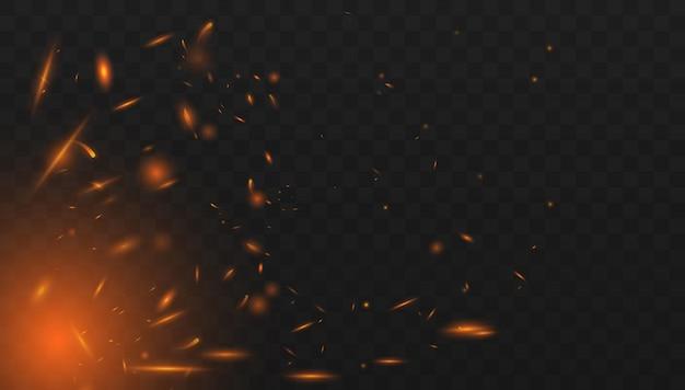 Vetor de faíscas de fogo voando acima. queima de partículas brilhantes