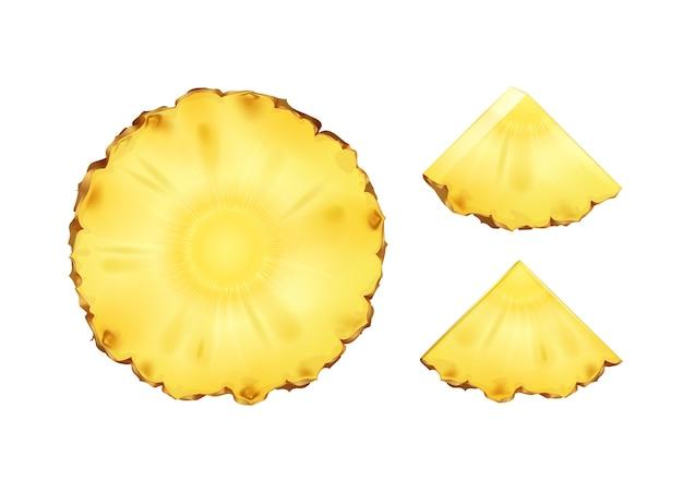 Vetor de fatias de abacaxi redondas e triangulares ou fatias isoladas no fundo branco