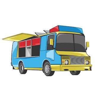 Vetor de festival de caminhão de comida para restaurante de fast food e carnaval de comida de rua
