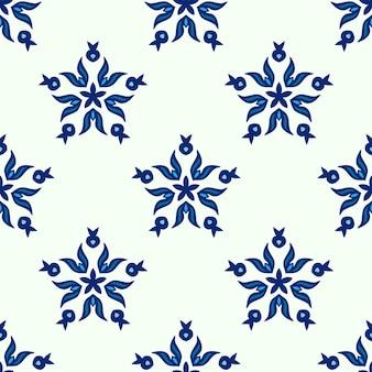 Vetor de flocos de neve sem costura padrão abstrato com azulejos azul e branco