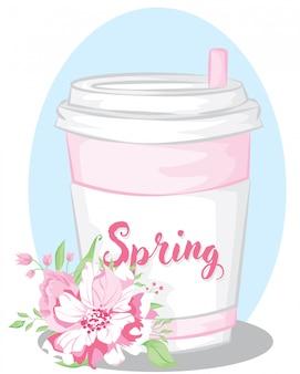 Vetor de flor de primavera com copo de bebida rosa