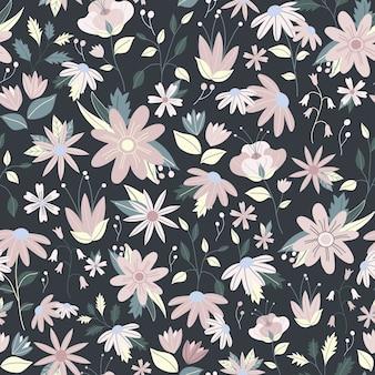Vetor de flor delicada lindo floral padrão sem emenda