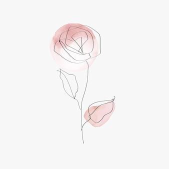 Vetor de flor rosa linha arte ilustração rosa pastel mínimo