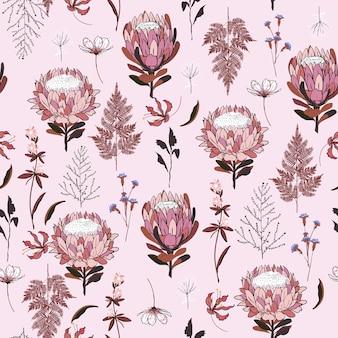 Vetor de flores protea padrão sem emenda