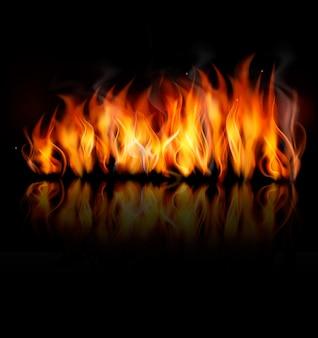 Vetor de fogo na superfície preta.