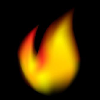 Vetor de fogo realista, em fundo preto