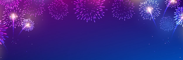 Vetor de fogos de artifício coloridos em azul escuro
