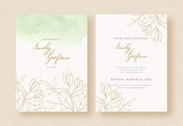 Vetor de folhas de ouro no design de convite de casamento inicial