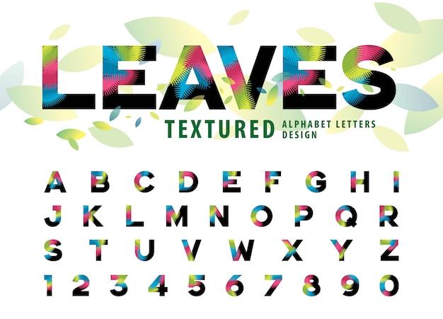 Vetor de folhas textura alfabeto letras, folha de palmeira colorida letra