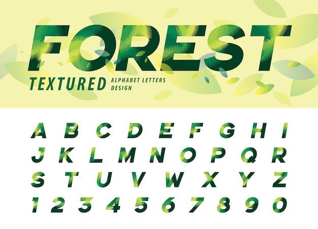 Vetor de folhas textura alfabeto letras, folha de palmeira verde letra
