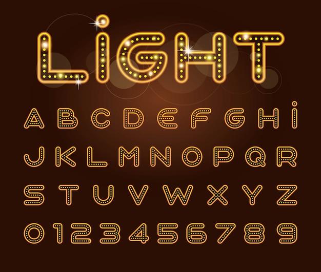 Vetor de fonte de luz estilizada e alfabeto