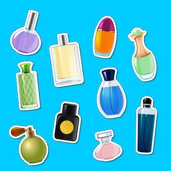Vetor de frascos de perfume adesivos de conjunto de ilustração