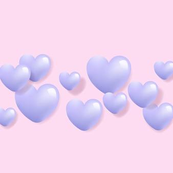 Vetor de fundo 3d de coração roxo.