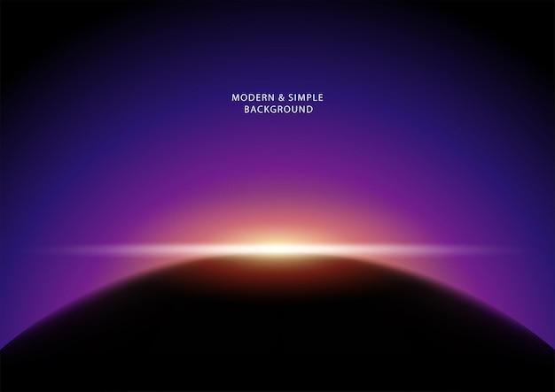 Vetor de fundo abstrato escuro, o sol brilha atrás de um planeta
