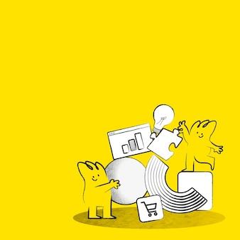 Vetor de fundo amarelo de compras on-line com ilustração de doodle de gerenciamento de negócios de comércio eletrônico