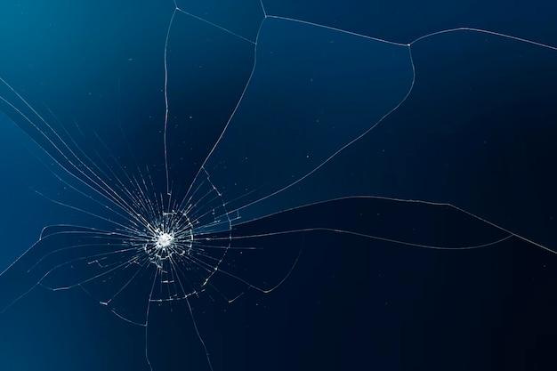 Vetor de fundo azul com efeito de vidro quebrado