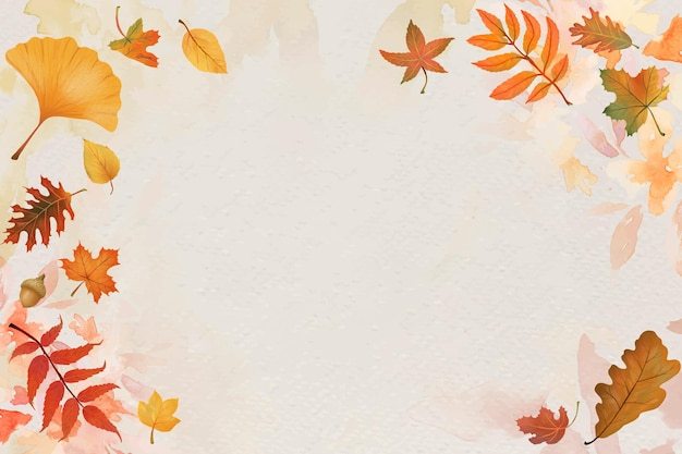 Vetor de fundo bege de folhas de outono