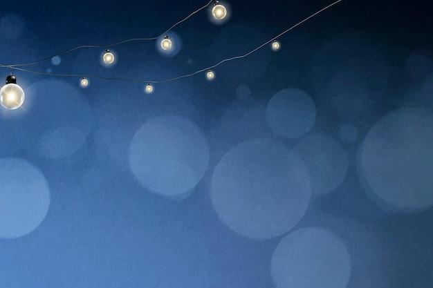 Vetor de fundo bokeh em azul com luzes penduradas brilhantes