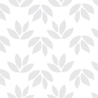 Vetor de fundo com padrão de folha cinza claro e sem costura