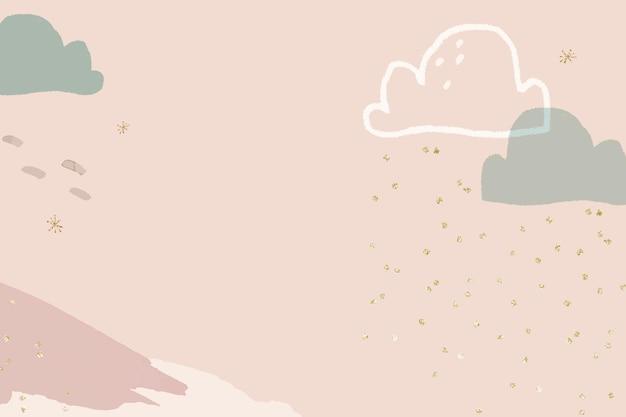 Vetor de fundo da temporada de inverno em rosa pastel com ilustração de montanha de doodle