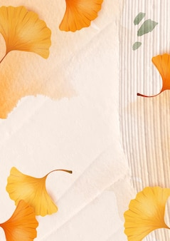 Vetor de fundo da temporada de outono com folhas de ginkgo