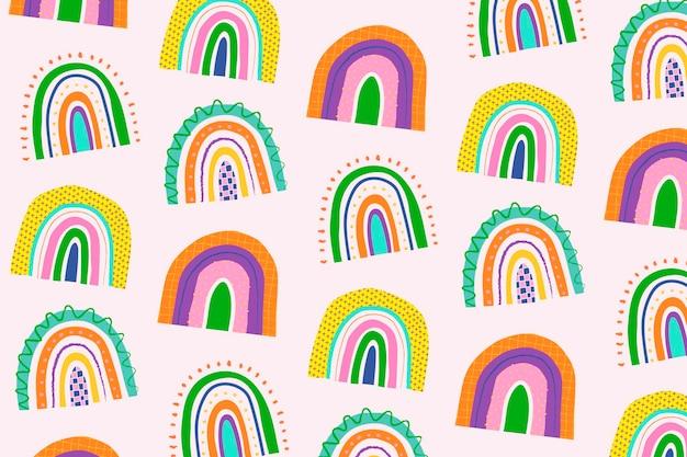 Vetor de fundo de arco-íris de padrão de doodle funky