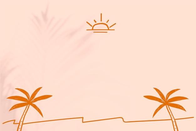 Vetor de fundo de borda de praia de verão com rabiscos bege e laranja