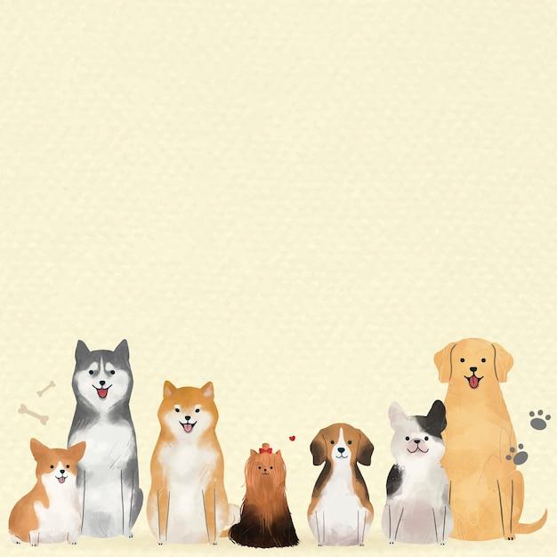 Vetor de fundo de cachorro com ilustração de bichinhos fofos
