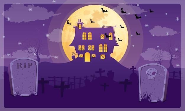 Vetor de fundo de casa em noite de cemitério