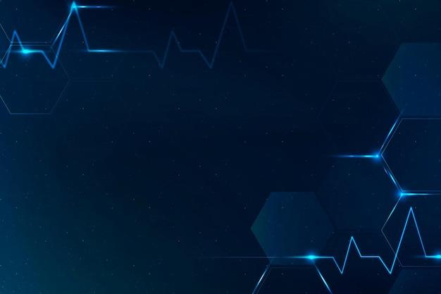 Vetor de fundo de ciência de tecnologia médica em azul com espaço em branco