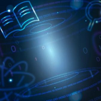 Vetor de fundo de ciência e átomo em remix de educação azul gradiente