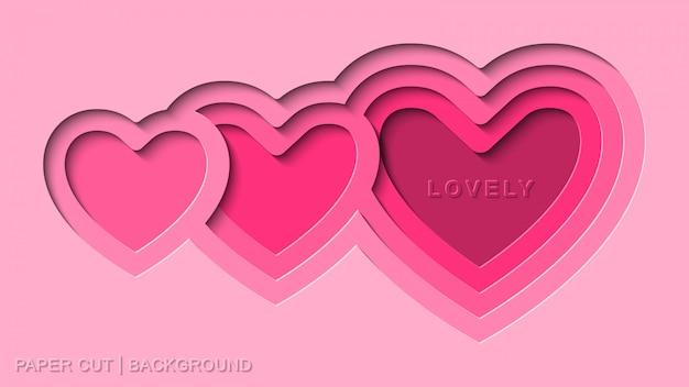 Vetor de fundo de corte de papel rosa adorável com estilo de corte de papel de coração profundo