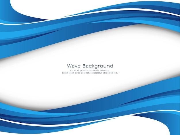 Vetor de fundo de desenho de onda azul linda e elegante Vetor Premium