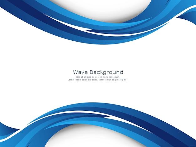Vetor de fundo de desenho de onda azul linda e elegante