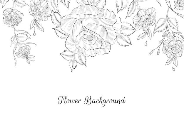 Vetor de fundo de esboço de flor desenhada à mão design plano