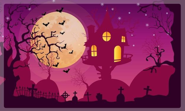 Vetor de fundo de festa de lua de halloween
