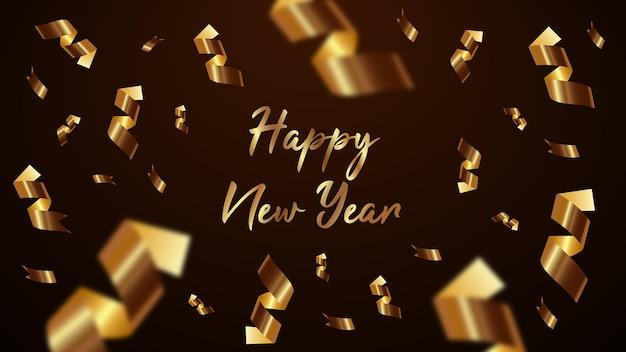 Vetor de fundo de fita dourada feliz ano novo