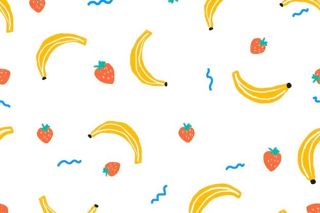 Vetor de fundo de frutas, papel de parede fofo
