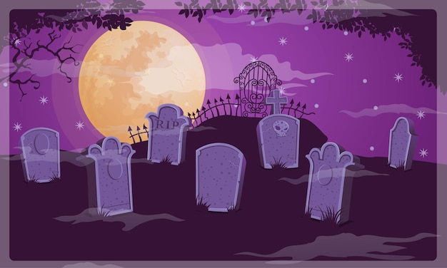 Vetor de fundo de halloween do cemitério