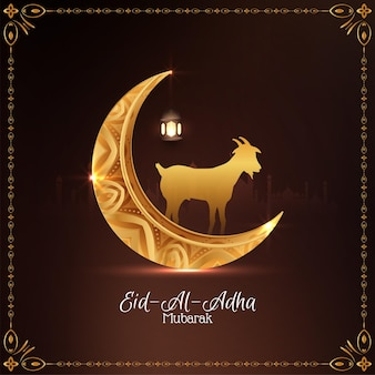 Vetor de fundo de lua crescente dourada de eid al adha mubarak