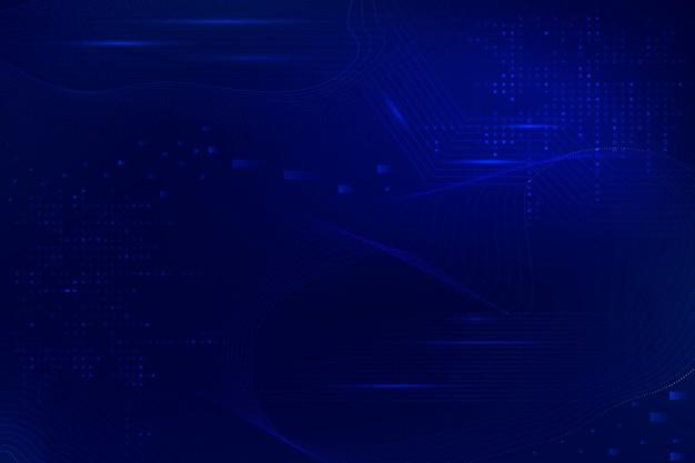 Vetor de fundo de ondas futuristas azuis com tecnologia de código de computador