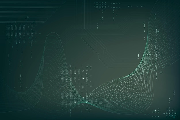 Vetor de fundo de ondas verdes futuristas com tecnologia de código de computador