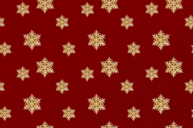 Vetor de fundo de padrão de floco de neve de ano novo vermelho, remix da fotografia de wilson bentley
