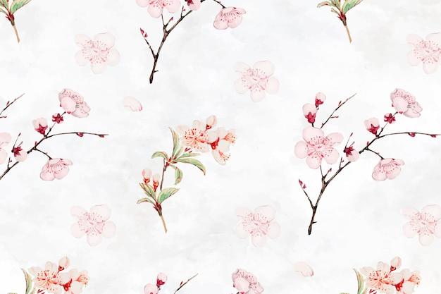 Vetor de fundo de padrão de flor de ameixa, remix de obras de arte de megata morikaga