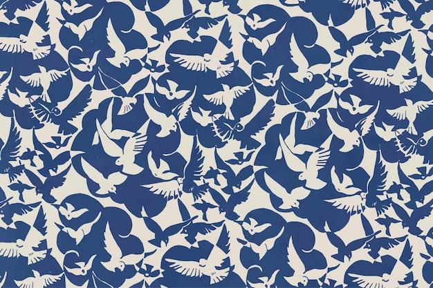 Vetor de fundo de padrão de pássaro azul, remixado da coleção de obras de arte