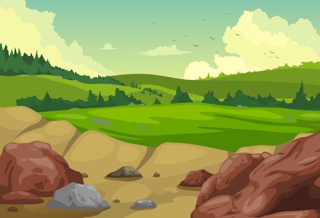 Vetor de fundo de paisagem de montanhas